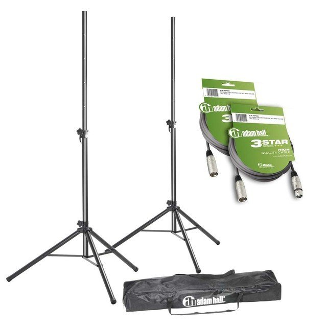 Стойка для акустики Adam Hall Stands SPS 023 SET 3 - Set of 2 Speaker Stands with Bag and 2 XLR Cables