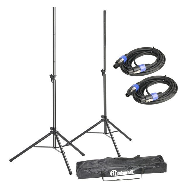 Стойка для акустики Adam Hall Stands SPS 023 SET 2 - Set of 2 Speaker Stands with Bag and Standard Speaker Cables
